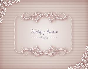 Easter Vector Illustration With Floral Frame