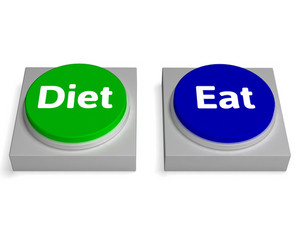 Eat Diet Buttons Shows Eating And Dieting