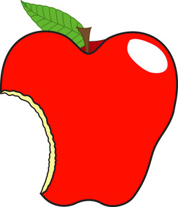 Eaten Apple Vector Illustration