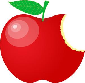 Eaten Red Apple Vector