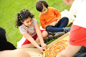 Eating pizza, picnic, family outdoor