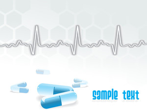 Ecg Vector Background With Capsule