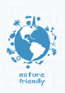 Eco Background With Planet Earth Vector Illustration