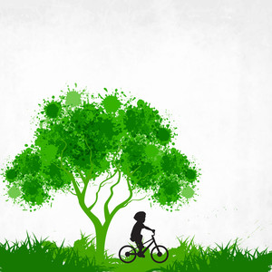 Eco Friendly Background With Green Tree