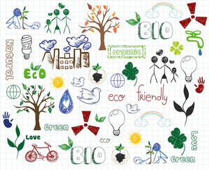 Eco-friendly Doodles Vector Illustration