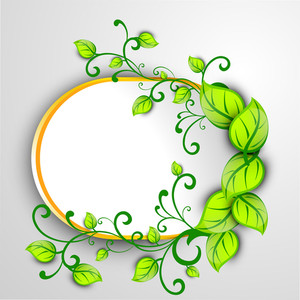 Eco Friendly Frame Decorated With Green Leaves On Grey Background