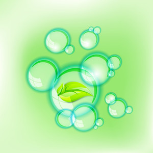 Eco Nature Concept With Green Leaf And Water Bubbles