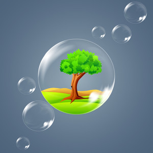 Eco Nature Concept With Green Trees And Water Bubbles On Grey Background