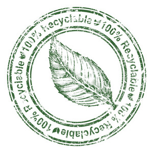 Eco Stamp With Leaf Vector Illustration