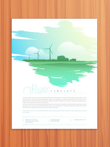 Ecological flyer template or brochure design on wooden background.