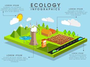 Ecological Infographic template layout with 3D view of a urban city.