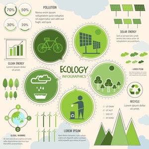 Ecological Infographic template layout with various save nature elements.