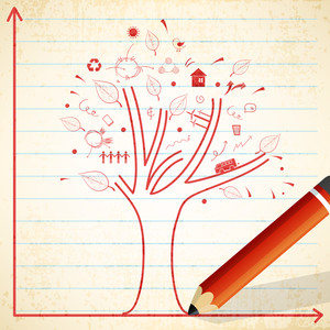 Ecological infographic template with illustration of a tree and other elements drawn by a pencil on notebook paper background.
