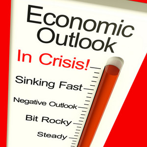 Economic Outlook In Crisis Monitor Showing Bankruptcy And Depression
