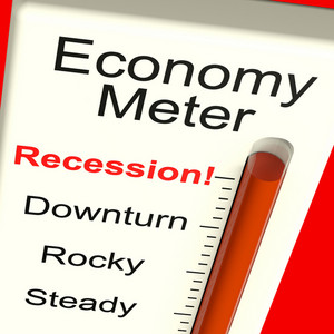 Economy Meter Showing Recession And Downturn