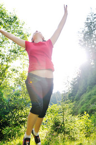 Girl jump outdoor
