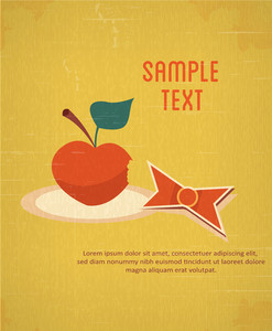 Education Vector Illustration With Apple And Ribbon (editable Text)