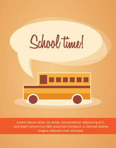 Education Vector Illustration With Buss (editable Text)