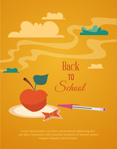 Education Vector Illustration With Clouds (editable Text)