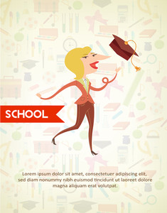 Education Vector Illustration With Pupil (editable Text)