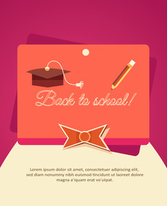 Education Vector Illustration With Ribbon And School Elements (editable Text)