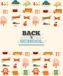 Education Vector Illustration With School Elemente (editable Text)