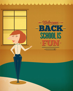 Education Vector Illustration With School Teacher (editable Text)