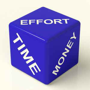 Effort Time Money Dice Representing The Ingredients For Business