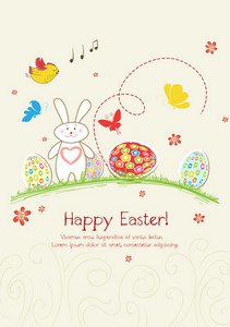 Eggs With Flowers Vector Illustration