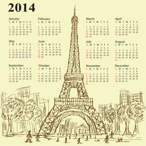 Eifel Tower Calendar 2014