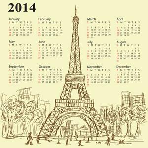 Eifel Tower Calendar 2014