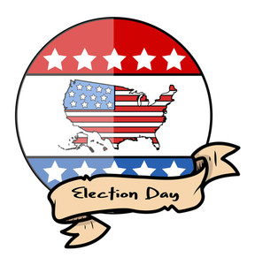 Election Day Glossy Design Vector With Vintage Banner