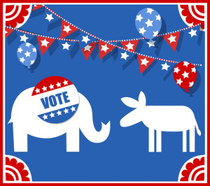 Election Day Symbol - Elephant And Donkey Vector Illustration