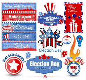 Election Day Vector Illustration Set