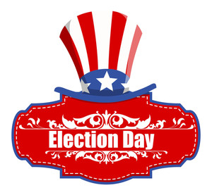 Election Day With Uncle Sam Hat Vector Illustration