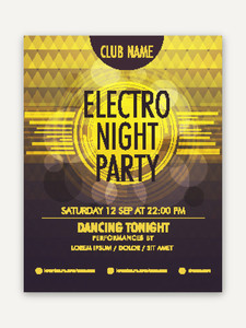 Electro Night Party celebration flyer banner or template with creative shiny abstract design.