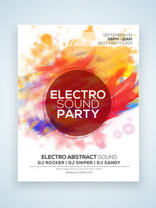Electro Night Party celebration one page Flyer Banner or Template with colorful splash.