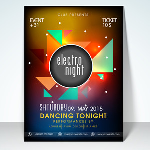 Electro night party flyer banner or template design.