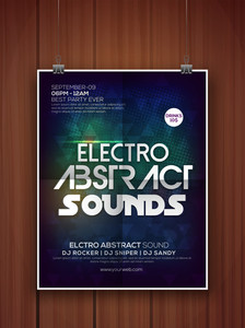 Electro Party celebration hanging flyer banner or template with shiny abstract design on wooden background.