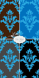 Elegant Damask Backgrounds Vectors