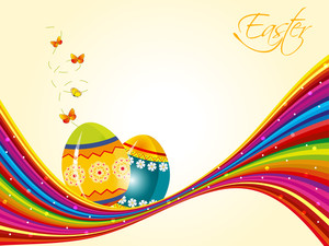 Elegant Eggs For Easter With Butterfly And Abstract Wave. Vector.