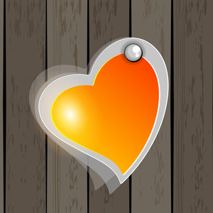Elegant Icon With Shape Of Heart Having On Wooden Wall. Vector.