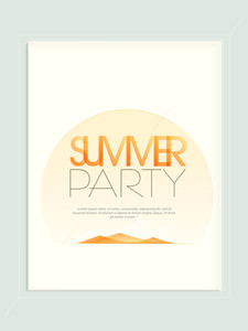 Elegant poster banner or flyer design for Summer Party celebration with nature view.