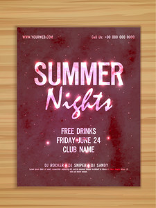 Elegant shiny flyer banner or template for Summer Nights Party celebration on wooden background.