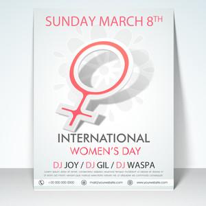 Elegant stylish flyer banner or template with women's symbol for International Women's Day celebration.