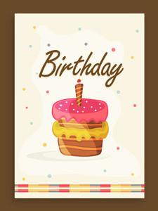 Elegant vintage invitation card design for Birthday Party celebration with colorful cake.