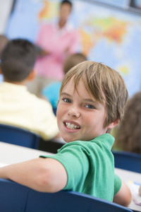 Elementary school pupil in geography class