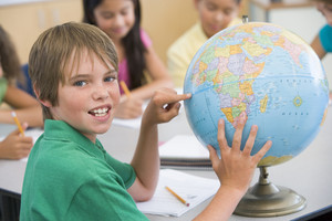 Elementary school pupil in geography lesson