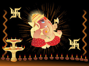 Elephant God Ganesha Abstract Design45