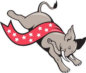 Elephant Jumping Democrat Mascot